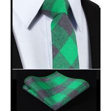 Mens Scottish Tartan Tie Wool Set -Shamrock Green & Grey Skinny Slim- FREE Hanky