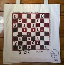 Marcel Dzama CHESS tote bag signed with original drawing and handmade pins