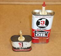 2 Vintage 3 in One Oil Tins - Two Sizes - Estate Tools