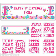 GIANT SWEET ROSA FARFALLA GIRL's 1st Festa di Compleanno personalisable SIGN BANNER
