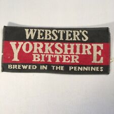 "Vintage Bar Towel Websters Yorkshire Bitter 18""x8"" Breweriana Decor"