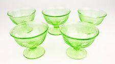 5 Georgian Love Birds Federal Glass Company Depression Green Custard Dessert Cup