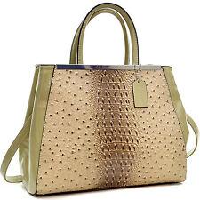 New Dasein Ostrich Leather Satchel Briefcase Totes Shoulder Bag Handbag Purse