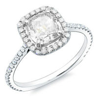 1.35 Ct Cushion Cut & Round Halo Diamond Engagement Ring D,SI1 GIA 14K White