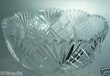 VINTAGE CUT GLASS CRYSTAL BOWL STARBURST PINEAPPLE PATTERN AMERICAN BRILLIANT ?
