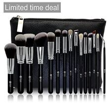 Makeup Kabuki Brush Set 100% Natural Soft Goat Hair Black & Silver Pack of 15