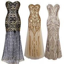 1920's Flapper Costume Charleston Gatsby Cocktail Party Long Prom Evening Dress