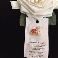 BEST MOM'S  GUARDIAN ANGEL PIN FOR WORLD'S BEST MOM WITH A THOUGHTFUL MESSAGE