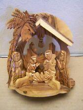 Carved Olive Wood Nativity Scene, Type 2 - Jerusalem, Holy Land