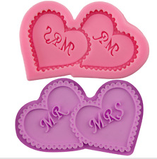 Mr Mrs Wedding Silicone Icing Mould Baking Chocolate Cake Topping Sugar Craft
