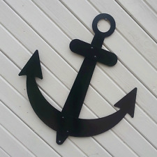 "Black Anchor Sailboat Wall Decor Flat Metal 32"" Nautical Outdoor Made in Usa"