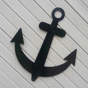 "Black Anchor Sailboat Wall Decor Flat Metal 32"" Nautical Outdoor Made in USA"