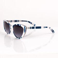 Dolce & Gabbana Catwalk Stripes Blue/White Sunglasses (Gray Gradient Lens)
