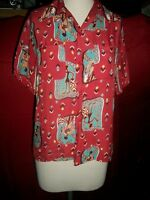 RARE VINTAGE 1940'S 50'S HAWAIIAN TRIBAL NATIVE RED RAYON ARTVOGUE SHIRT