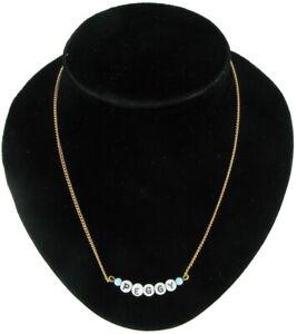 Peggy - Name Necklace Gold Tone Blue Glass - Circa 1950-60