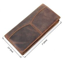 New Mens Genuine Leather Wallet Bifold Long Money Card Holder Clutch Purse Brown