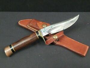 "Ralph Bone Lubbock Tex Fixed Blade Knife Johnson Sheath c358 Hunting Custom 9.5"""