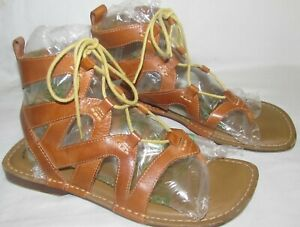 Earth Spirit Shoes Leather Lace Up Tie Ankle Sandals Gelron 2000 Womens Size 9