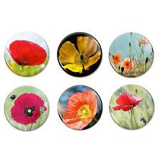 "Poppy Fridge Magnets, 1.25"" Round Magnet set,party & wedding favors, set of 6"