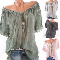 Women Short Sleeve Lace Patchwork T Shirts Slash Neck Loose Blouse Tops Shirt
