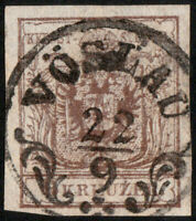"AUTRICHE / AUSTRIA / ÖSTERREICH ca.1850 CàD ""VÖSLAU"" (Mueller 3134b) on Mi.4"
