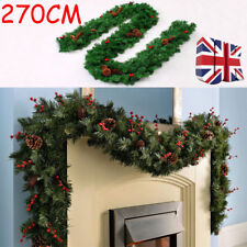 UK Christmas 9ft Extra Thick Garland With Mixed Pine Cones & Berries Decoration