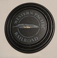 Rare Western Pacific Railroad Feather River Black Plastic Drink Coaster