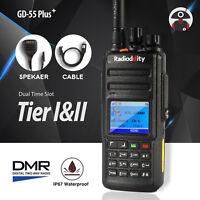 Radioddity GD-55 Plus 10W Impermeable DMR Walkie talkie UHF Cable Antena Altavoz