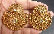 South Indian Antique Gold Plated CZ Kundan Polki Wedding Earrings Chand Jhumka