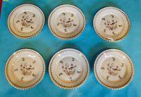 Ancien lot de 6 assiettes à dessert vintage oiseau de paradis porcelaine fleur