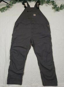 Carhartt Mens Gray Overalls Size 48 x 32