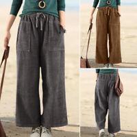 ZANZEA Womens Loose Corduroy Wide Leg Pants Elastic Waist Palazzo Trousers Plus