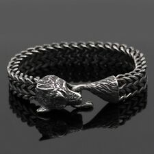 Men's Norse Viking Stainless Steel Link Chain Wolf Bracelet Amulet Gift Jewelry