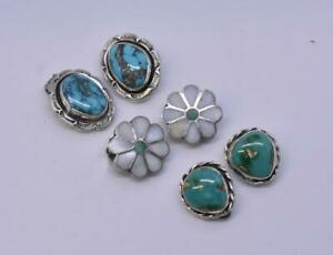 Three Pair Turquoise And Silver Clip Earring Flower, Oval, Nugget