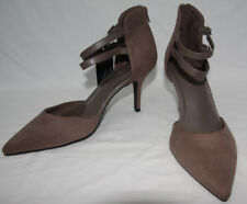 Marks & Spencer Size 7 Extra Wide Beige Suede Effect Strappy Stiletto Shoes