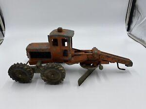 Vintage Collectible Orange Hubley Road Grader Tractor Toy Diesel Die-Cast