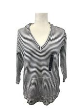 American Living Womens Size M Top Pullover Striped 3/4 Sleeve White Navy Tee
