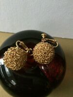 Vintage c 60s MARVELLA  Gold tone Wire ball Statement EARRINGS screw-type