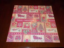 New ListingVtg Christmas Wrapping Paper Gift Wrap 1960 Sleigh Tree Bells Candle Wreath Nos