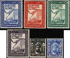 Zanzibar 1944 Al Busaid Dynasty Bicent.(5), Victory (2) SG327-32 Hinged Mint