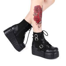 Schwarz Gothic Punk Rock Damen-stiefel Stiefeletten boot High heel cool Black