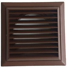 """Brown Louvred grille with flyscreen 100mm 4"""" round spigot - Domus wall vent"""