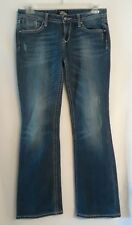 women's ReRock for Express Low Rise Boot Cut Distressed 5 Pocket Jeans size 8R