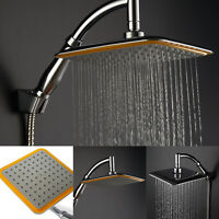 """9""""Square Chrome Extension Stainless Steel Water Rainfall Overhead Shower Head"""