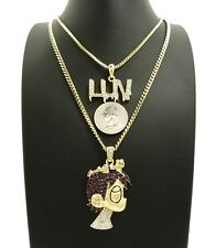 """ICED OUT LIL UZI VERT PAVE CARTOON & LUV PENDANT W/ 24"""" 30"""" CHAIN NECKLACE SET"""