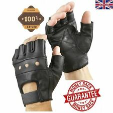 Ladies Womens Leather Motorbike Motorcycle Cycling Driving Half Finger Gloves UK S