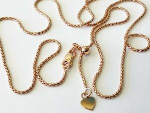 """14K Solid Rose Gold Popcorn Chain ADJUSTABLE up to 22""""  Necklace Chain 1.3mm"""