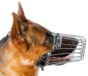 German Shepard Muzzle Big #2 Chrome Metal Dog Wire Basket Muzzle Reinforced Cage