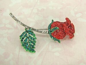 Red and Green Crystal Rose Pin Brooch with Clear Crystal Stem - NEW