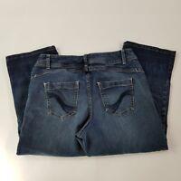 LANE BRYANT Women's GENIUS FIT Capri Cropped Dark Wash Denim Jeans Size 14